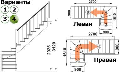 Лестница   К-001м/4  Л  сосна (6 уп)