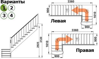 Лестница  К-002м/1  П  сосна (5 уп)