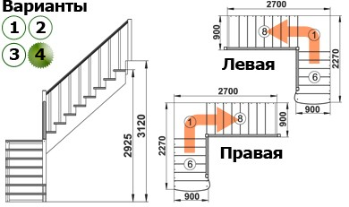 Лестница  К-002м/4  П сосна (6 уп)
