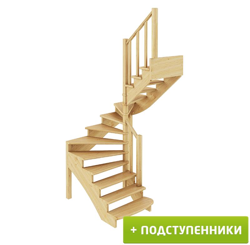 Лестница  К-003м/2 П с подступенками сосна (6 уп)