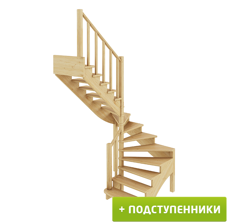 Лестница  К-003м/4 Л с подступенками сосна (6 уп)