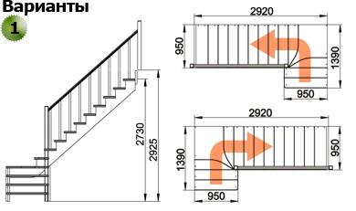 Лестница  К-031м/1  П  сосна (5 уп)