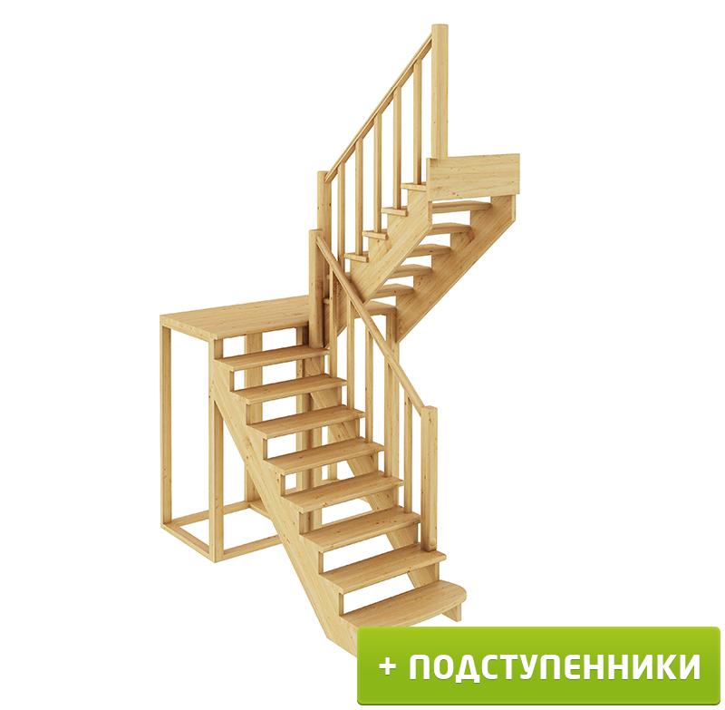 Лестница  К-004м/2 П с подступенками сосна  (7 уп)