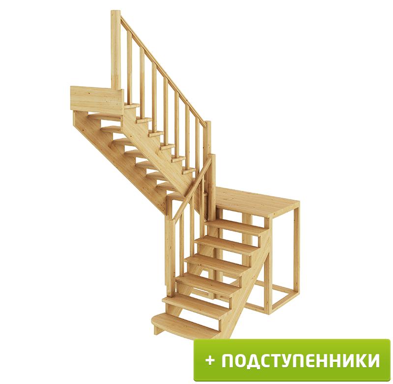 Лестница  К-004м/3 Л с подступенками сосна  (7 уп)