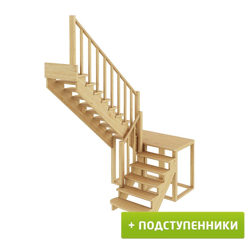 Лестница  К-004м/4 Л с подступенками сосна  (7 уп)