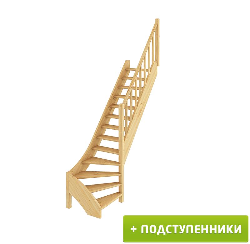 Лестница  ЛС-07м/1 П с подступенками сосна (4 уп)