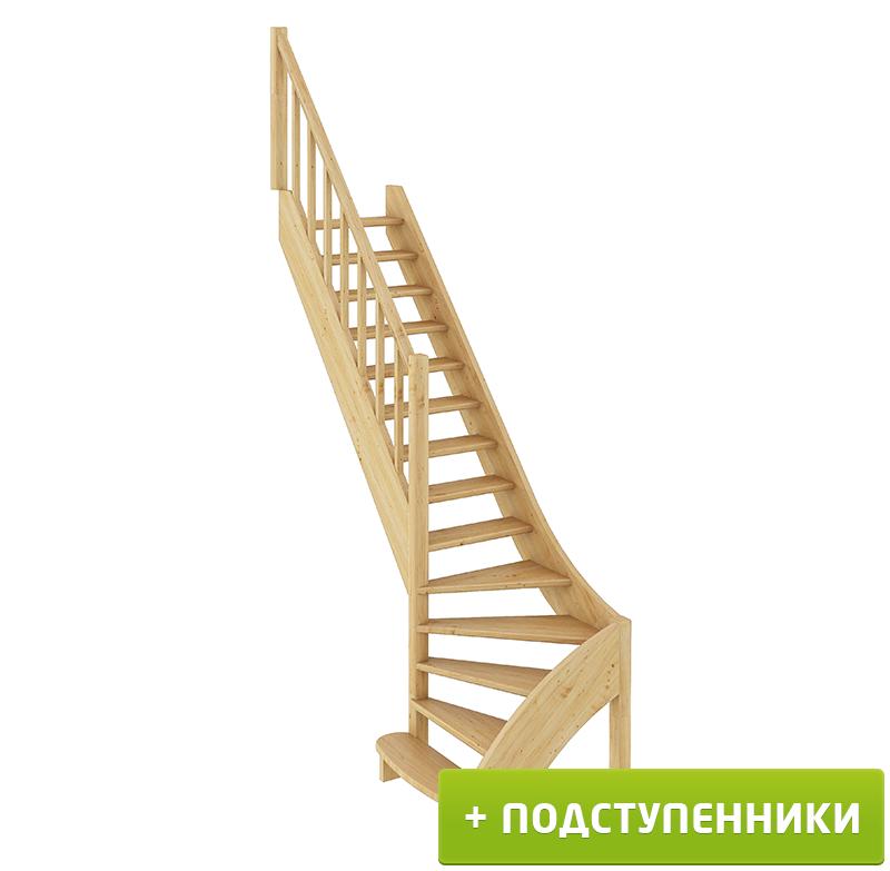 Лестница  ЛС-07м/2 Л с подступенками сосна  (4 уп)