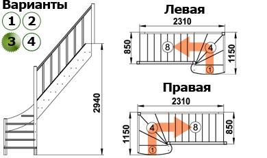 Лестница  ЛС-07м/3  П  сосна  (3 уп)