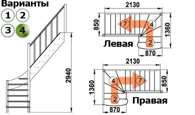 Лестница  ЛС-07м/4  П  сосна  (3 уп)