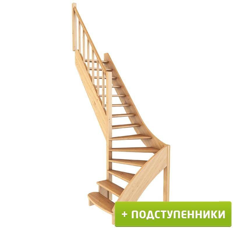 Лестница  ЛС-07м/5 Л с подступенками сосна (4уп)